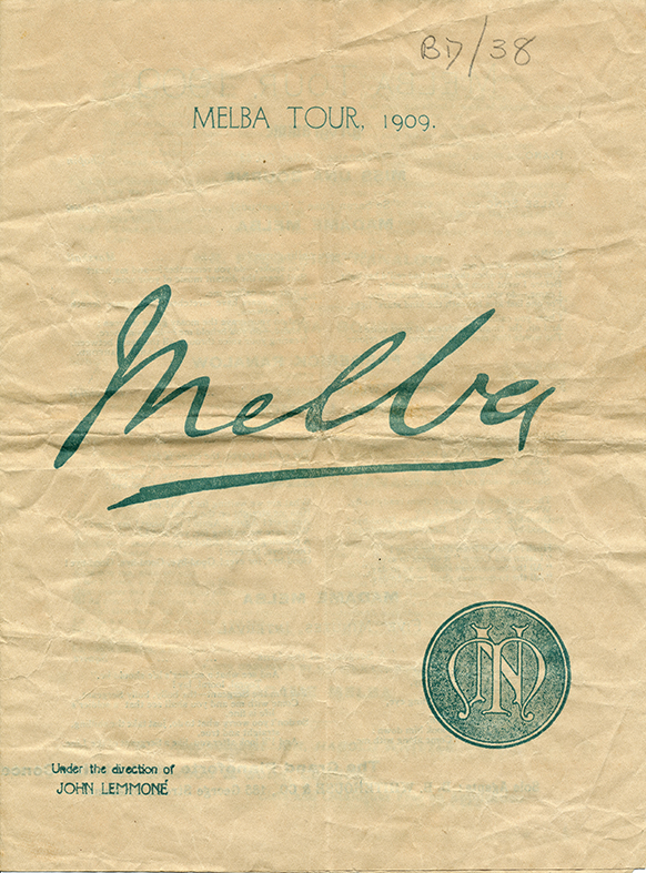 Front page of Melba's 1909 concert tour program for Queensland.